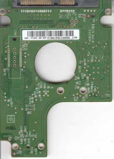WD1600BEKT-60V5T1, 2061-771574-D01 02P, WD SATA 2.5 PCB