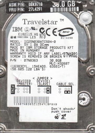 IC25N030ATCS04-0, PN 07N8363, MLC H32687, IBM 30GB IDE 2.5 Hard Drive