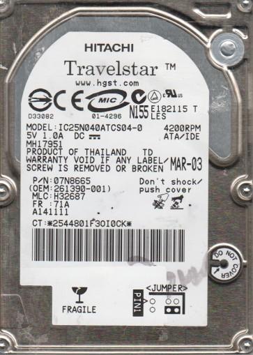 IC25N040ATCS04-0, PN 07N8665, MLC H32687, IBM 40GB IDE 2.5 Hard Drive
