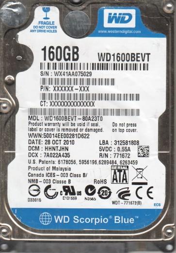 WD1600BEVT-80A23T0, DCM HHNTJHN, Western Digital 160GB SATA 2.5 Hard Drive