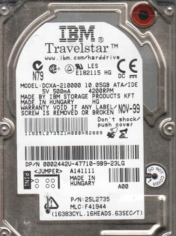 DCXA-210000, PN 25L2735, MLC F41944, IBM 10GB IDE 2.5 Hard Drive