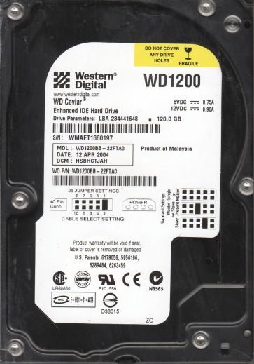 WD1200BB-22FTA0, DCM HSBHCTJAH, Western Digital 120GB IDE 3.5 Hard Drive