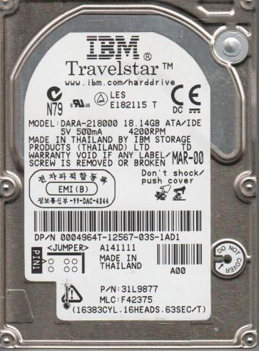 DARA-218000, PN 31L9877, MLC F42375, IBM 18.1GB IDE 2.5 Hard Drive