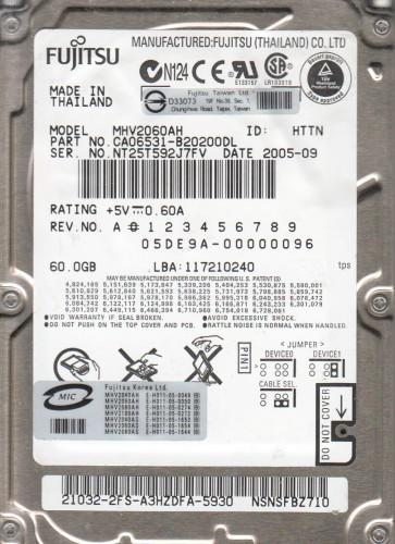 MHV2060AH, PN CA06531-B20200DL, Fujitsu 60GB IDE 2.5 Hard Drive