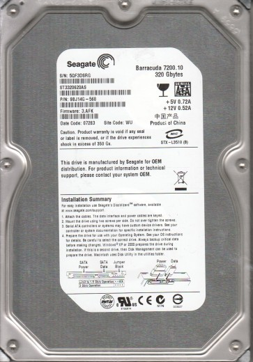 ST3320620AS, 5QF, WU, PN 9BJ14G-568, FW 3.AFK, Seagate 320GB SATA 3.5 Hard Drive