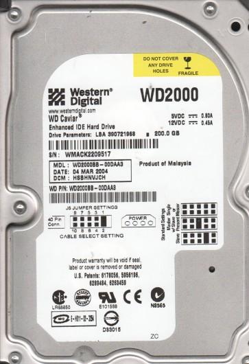 WD2000BB-00DAA3, DCM HSBHNVJCH, Western Digital 200GB IDE 3.5 Hard Drive