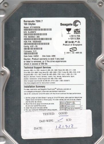 ST3160023A, 3LJ, AMK, PN 9W2084-308, FW 3.01, Seagate 160GB IDE 3.5 Hard Drive