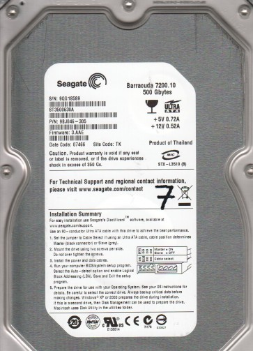 ST3500630A, 9QG, TK, PN 9BJ046-305, FW 3.AAE, Seagate 500GB IDE 3.5 Hard Drive