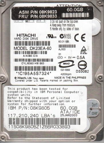 DK23EA-60, A/A0B5C/A, Hitachi 60GB IDE 2.5 Hard Drive
