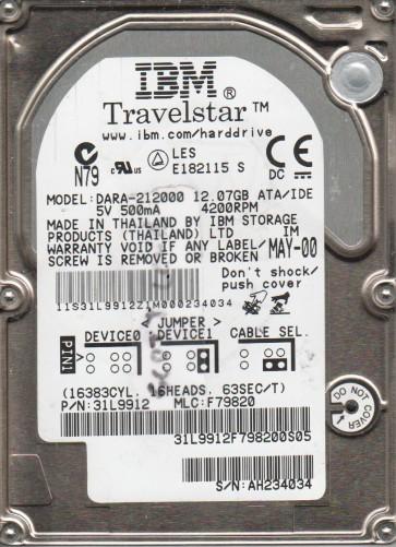 DARA-212000, PN 31L9912, MLC F79820, IBM 12GB IDE 2.5 Hard Drive