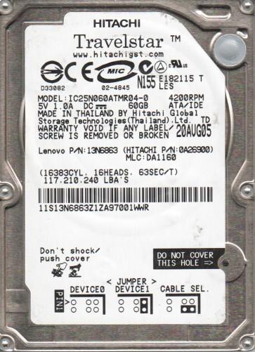 IC25N060ATMR04-0, PN 0A26900, MLC DA1160, Hitachi 60GB IDE 2.5 Hard Drive