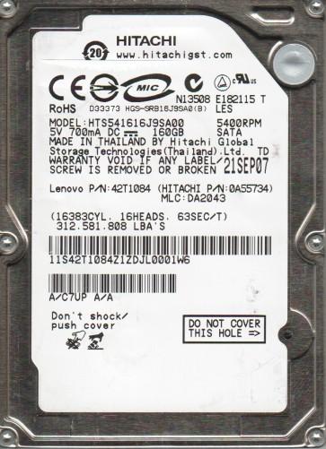 HTS541616J9SA00, PN 0A55734, MLC DA2043, Hitachi 160GB SATA 2.5 Hard Drive