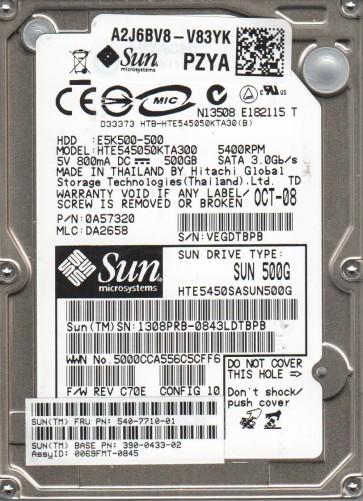 HTE545050KTA300, PN 0A57320, MLC DA2658, Hitachi 500GB SATA 2.5 Hard Drive