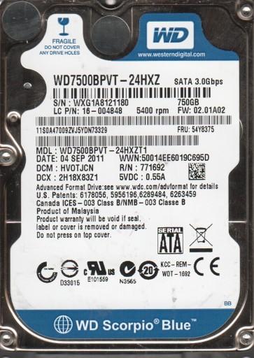 WD7500BPVT-24HXZT1, DCM HVOTJCN, Western Digital 750GB SATA 2.5 Hard Drive