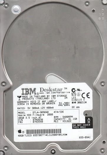 DTLA-305040, PN 07N3538, MLC H31822, IBM 41.1GB IDE 3.5 Hard Drive
