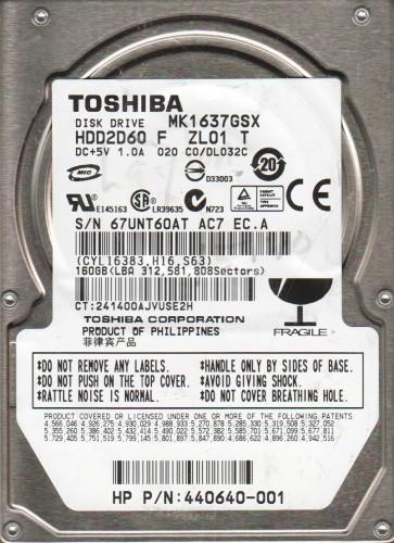 MK1637GSX, C0/DL032C, HDD2D60 F ZL01 T, Toshiba 160GB SATA 2.5 Hard Drive