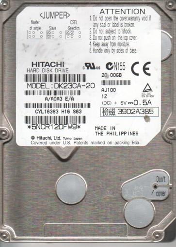 DK23CA-20, A/A0A3E/A, Hitachi 20GB IDE 2.5 Hard Drive