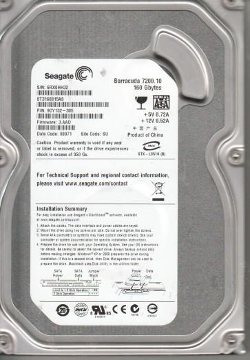 ST3160815AS, 6RX, SU, PN 9CY132-305, FW 3.AAD, Seagate 160GB SATA 3.5 Hard Drive