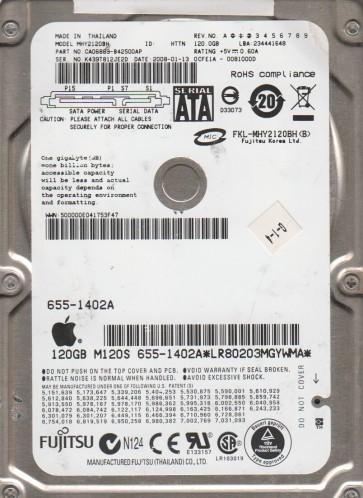 MHY2120BH, PN CA06889-B42500AP, Fujitsu 120GB SATA 2.5 Hard Drive