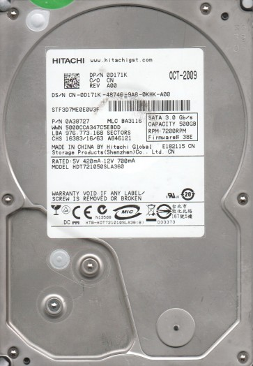 HDT721050SLA360, PN 0A38727, MLC BA3116, Hitachi 500GB SATA 3.5 Hard Drive