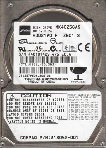 MK4025GAS, A0/KA100A, HDD2190 F ZE01 S, Toshiba 40GB IDE 2.5 Hard Drive
