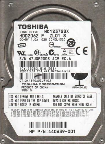MK1237GSX, C0/DL132C, HDD2D62 F ZL01 S, Toshiba 120GB SATA 2.5 Hard Drive