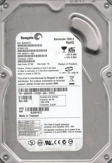 ST3802110A, 9LR, TK, PN 9BD011-033, FW 3.ADH, Seagate 80GB IDE 3.5 Hard Drive