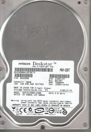 HDS721680PLA380, PN 0A33998, MLC BA1957, Hitachi 80GB SATA 3.5 Hard Drive