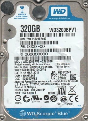 WD3200BPVT-24ZEST0, DCM HHMTJHB, Western Digital 320GB SATA 2.5 Hard Drive