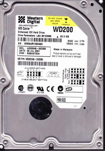 WD200AB-00CDB0, DCM RSBAET2CA, Western Digital 20GB IDE 3.5 Hard Drive