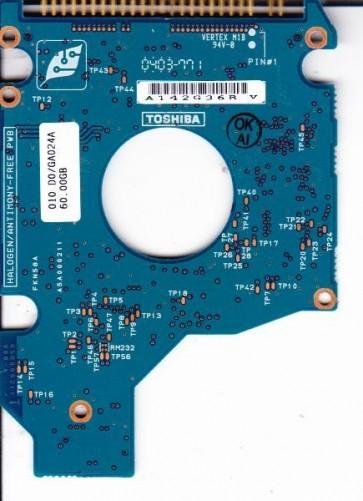 MK6021GAS, HDD2183 P ZE01 T, G5B000211000-A, Toshiba 60GB IDE 2.5 PCB