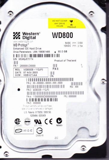 WD800EB-11DJF0, DCM HSBHCTJAA, Western Digital 80GB IDE 3.5 Hard Drive