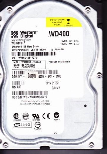 WD400BB-75DEA0, DCM DSBHCV2CH, Western Digital 40GB IDE 3.5 Hard Drive