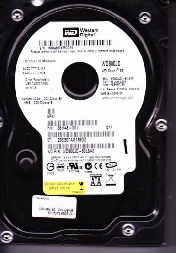 WD800JD-60LSA0, DCM HSBHNTJEH, Western Digital 80GB SATA 3.5 Hard Drive