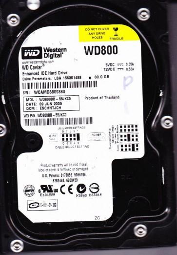 WD800BB-55JKC0, DCM ESCHNTJCH, Western Digital 80GB IDE 3.5 Hard Drive