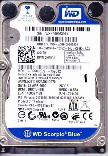 WD2500BEVT-75ZCT2, DCM DHCTJHBB, Western Digital 250GB SATA 2.5 Hard Drive