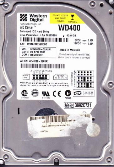 WD400BB-32AUA1, DCM DSCHEGHH, Western Digital 40GB IDE 3.5 Hard Drive