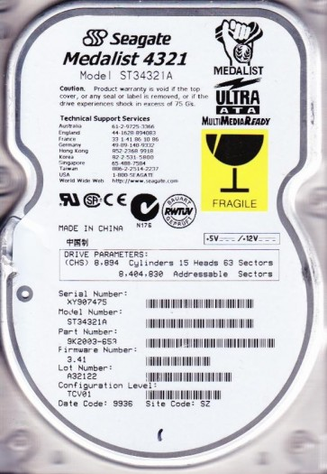 ST34321A, XY9, SZ, PN 9K2003-653, FW 3.41, Seagate 4.3GB IDE 3.5 Hard Drive