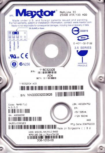 5A250J0, Code RAMB1TU0, NGDD, Maxtor 250GB IDE 3.5 Hard Drive