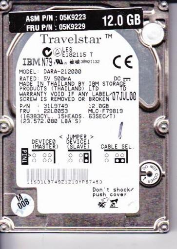 DARA-212000, PN 31L9749, MLC 22L0053, IBM 12GB IDE 2.5 Hard Drive
