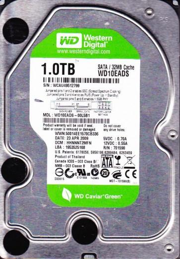 WD10EADS-00L5B1, DCM HHNNNT2MFN, Western Digital 1TB SATA 3.5 Hard Drive