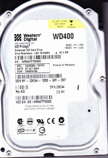 WD400EB-75CPF0, DCM DSBBNV2A, Western Digital 40GB IDE 3.5 Hard Drive
