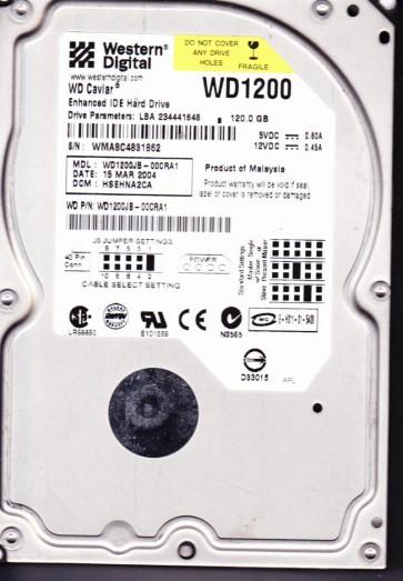WD1200JB-00CRA1, DCM HSEHNA2CA, Western Digital 120GB IDE 3.5 Hard Drive