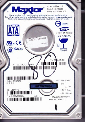 6L080M0, Code BANC1G10, KMBA, Maxtor 80GB SATA 3.5 Hard Drive