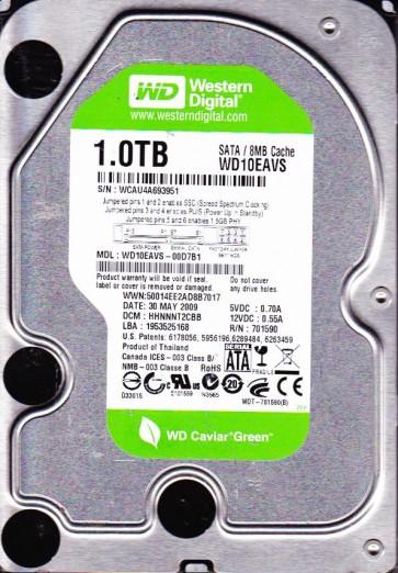 WD10EAVS-00D7B1, DCM HHNNNT2CBB, Western Digital 1TB SATA 3.5 Hard Drive
