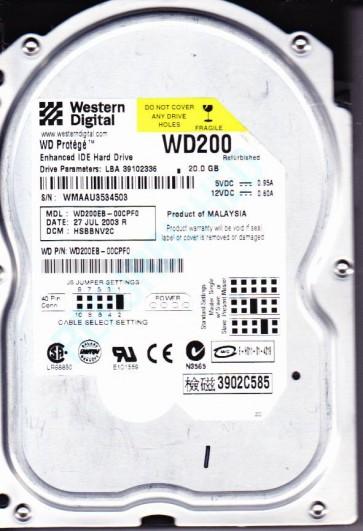 WD200EB-00CPF0, DCM HSBBNV2C, Western Digital 20GB IDE 3.5 Hard Drive