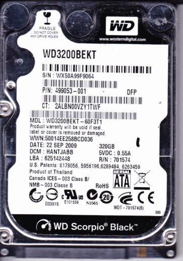 WD3200BEKT-60F3T1, DCM HANTJABB, Western Digital 320GB SATA 2.5 Hard Drive