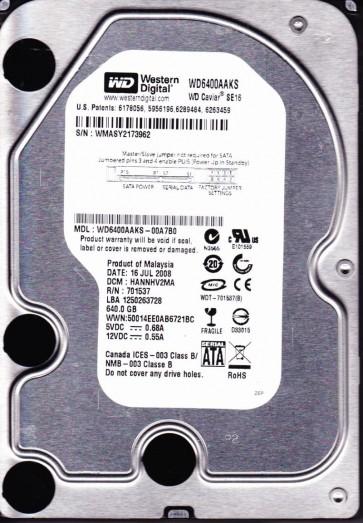 WD6400AAKS-00A7B0, DCM HANNHV2MA, Western Digital 640GB SATA 3.5 Hard Drive