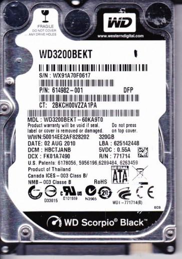 WD3200BEKT-60KA9T0, DCM HBCTJANB, Western Digital 320GB SATA 2.5 Hard Drive