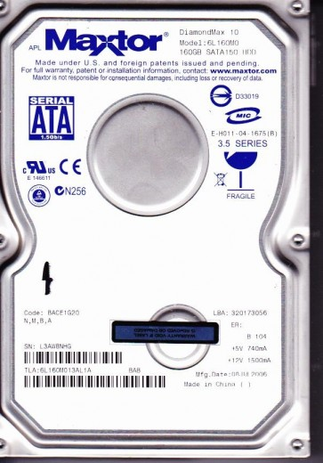 6L160M0, Code BACE1G20, NMBA, Maxtor 160GB SATA 3.5 Hard Drive